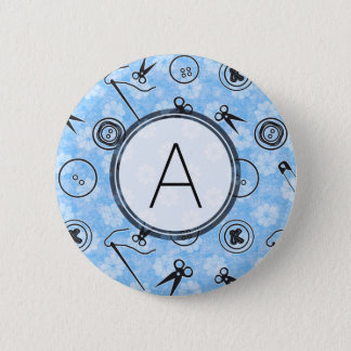 Badge Motif de couture de gris bleu avec le monogramme