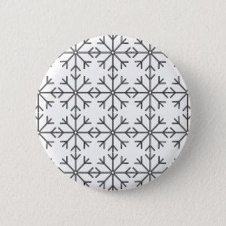 Badge Motif de flocon de neige - noir et blanc.