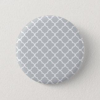 Badge Motif marocain de Quatrefoil de blanc gris de