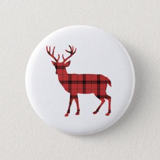Badge Motif rouge de tartan de plaid de cerfs communs de