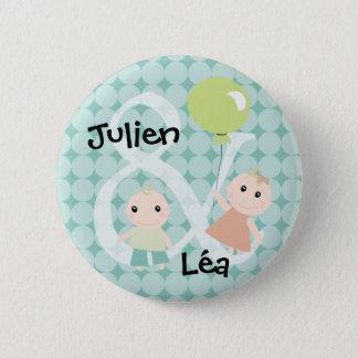 Badge naissance jumeaux fille garcon ballon