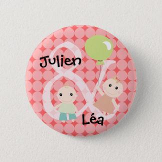 Badge naissance jumeaux fille garcon ballon 02