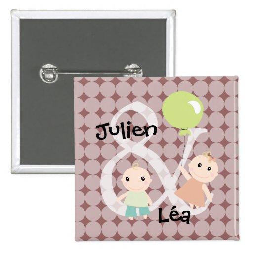 Badge naissance jumeaux fille garcon ballon 03