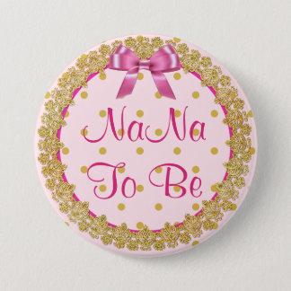 Badge Nana à être bouton rose et d'or de baby shower
