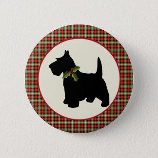 Badge Noël écossais de plaid de chien de Scottie