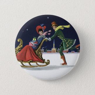 Badge Noël vintage, couple dans le patinage de glace