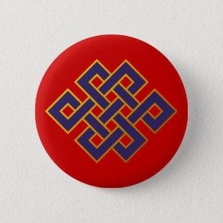 Badge Noeud éternel de bouddhisme bleu de karma de