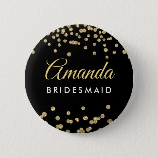 Badge Noir de confettis de parties scintillantes de Faux