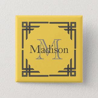 Badge Nom géométrique gris jaune de monogramme de