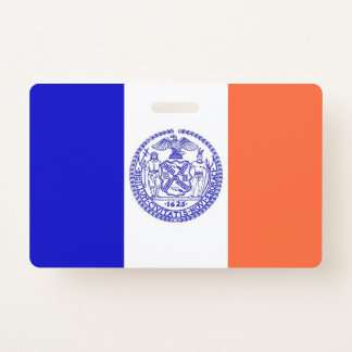 Badge nominatif avec le drapeau de New York City,