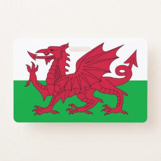 Badge nominatif avec le drapeau du Pays de Galles,
