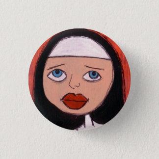 Badge nonne avec le grand bouton rouge de lèvres
