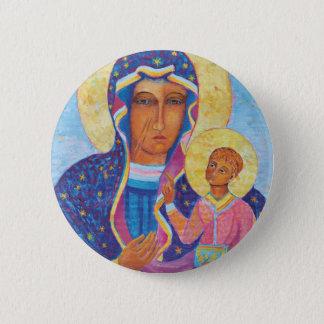Badge Notre Madame de Czestochowa Madonna noir Pologne