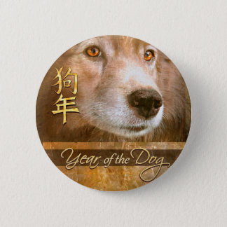 Badge Nouvelle année chinoise des yeux d'or de chien