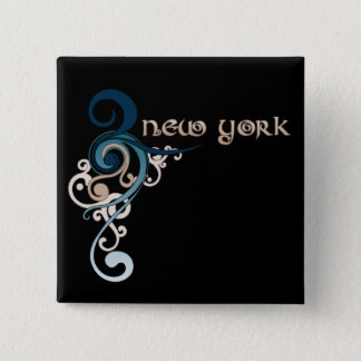Badge Obscurité bouclée bleue de bouton de New York de