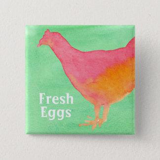Badge Oeufs frais roses de ferme de poulet