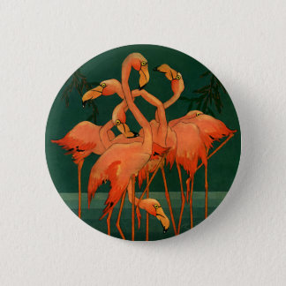 Badge Oiseaux vintages d'animal sauvage, flamants roses