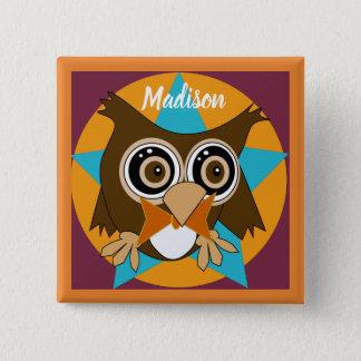 Badge Oldrich Editable le bouton de carré de hibou