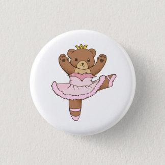 Badge Ours de ballerine dans le bouton rose de tutu