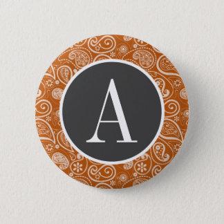Badge Paisley orange brûlé ; Floral