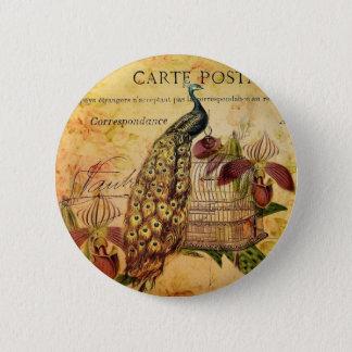 Badge Paon vintage moderne d'orchidée botanique