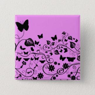 Badge Papillons, insectes - rose et noir