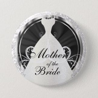 Badge Partie nuptiale accents noirs, blancs et argentés