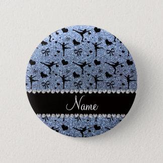 Badge Patinage artistique bleu en pastel nommé fait sur