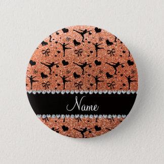 Badge Patinage artistique orange en pastel nommé fait