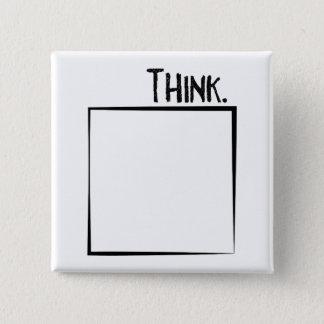 Badge Pensez en dehors de la typographie de coquille de