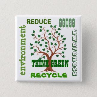 Badge Pensez l'arbre vert - Pin personnalisable