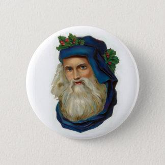 Badge Père Noël victorien bleu