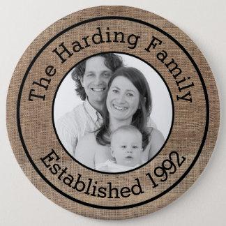 Badge Photo de famille customisée par toile de jute