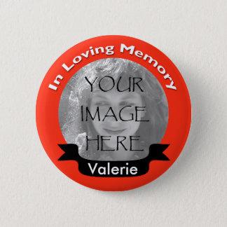 Badge Photo faite sur commande rouge chaude dans la