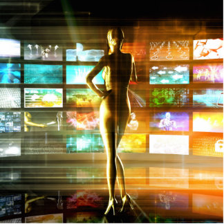 Badge Photo Sculpture Concept de technologies de médias comme mur visuel
