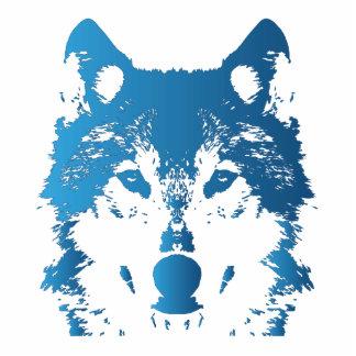 Badge Photo Sculpture Loup de bleu glacier d'illustration