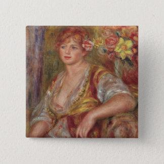 Badge Pierre une femme blonde de Renoir | avec un rose