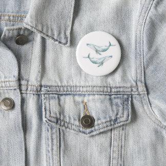 Badge Pin de baleines d'aquarelle
