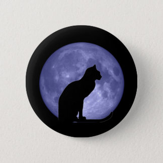 Badge Pin de bouton de lune bleue de chat noir