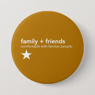 Badge Pin jaune de communication - famille et amis