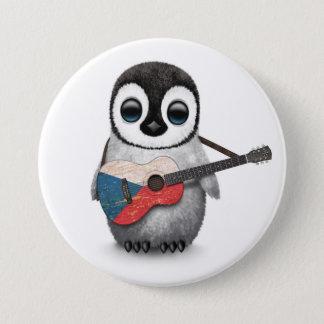 Badge Pingouin jouant la guitare de drapeau de