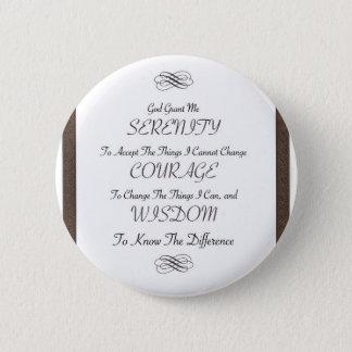 Badge poème de prière de sérénité avec l'équilibre métal