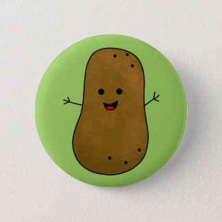 Badge Pomme de terre heureuse mignonne, fond vert