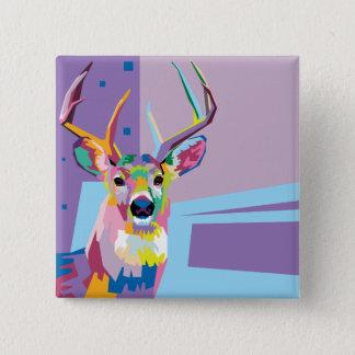 Badge Portrait coloré de cerfs communs d'art de bruit