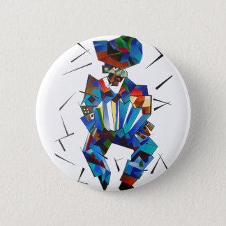 Badge Portrait cubiste de joueur d'Accordian d'isolement