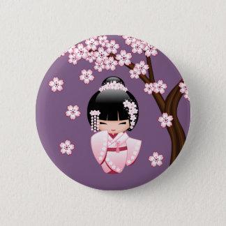Badge Poupée blanche de Kokeshi de kimono - fille de
