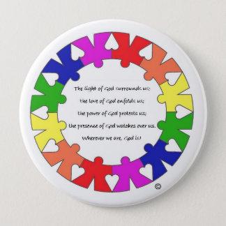 Badge Prière pour la protection en cercle de mains et de