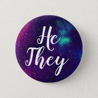 Badge Pronom personnalisable de galaxie de He/They