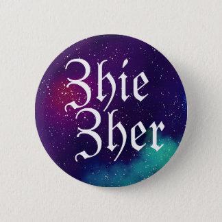 Badge Pronom personnalisable de galaxie de Zhie/Zher