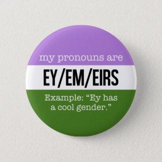 Badge Pronoms d'Ey/Em - drapeau de Genderqueer